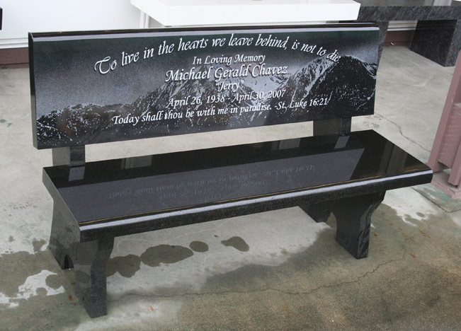 Memorial bench portfolio granite benches pacific coast Cemetery benches
