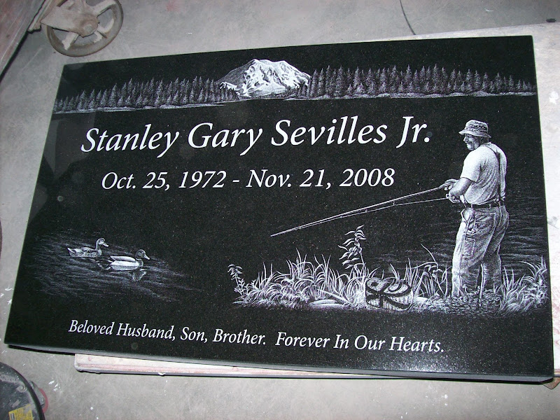 Flat Grave Marker With A Diamond Etched Portrait