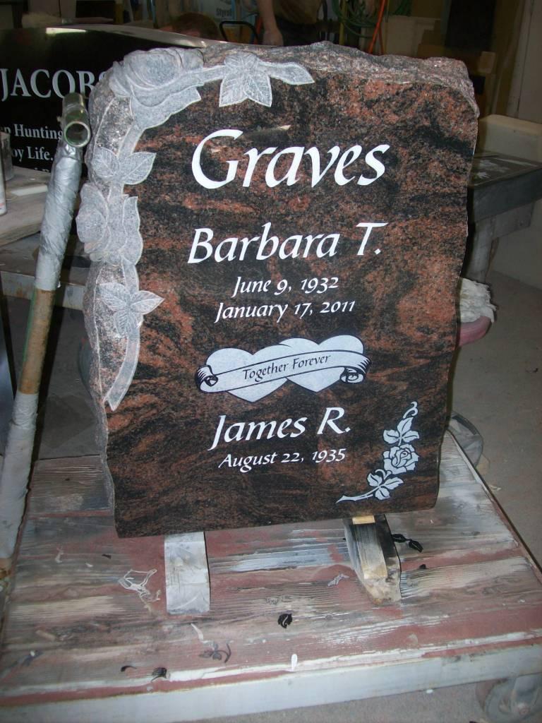 Upright Grave Marker In Aurora Granite Set At Evergreen