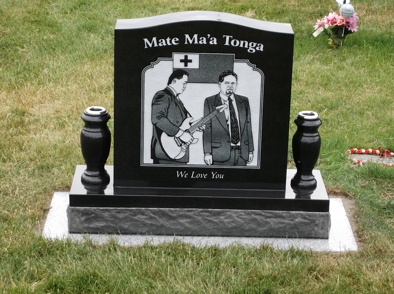 Upright grave marker in absolute black granite pacific coast upright grave marker in absolute black granite marker has a tri toned engraved image along with 2 granite vases this grave marker rests on a polished 2 reviewsmspy
