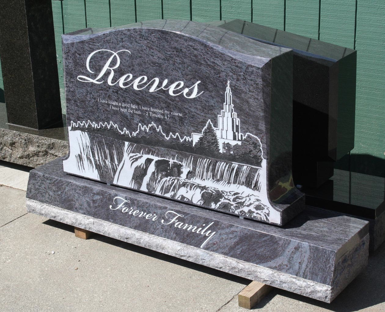 Mormon Upright Headstone In Bahama Blue Granite Pacific