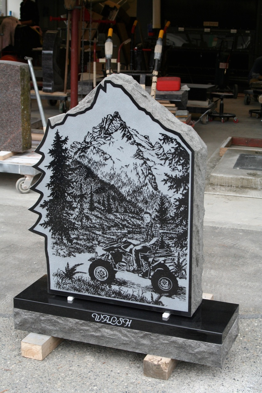 Upright Grave Marker With Outdoor Mountain Scene Pacific