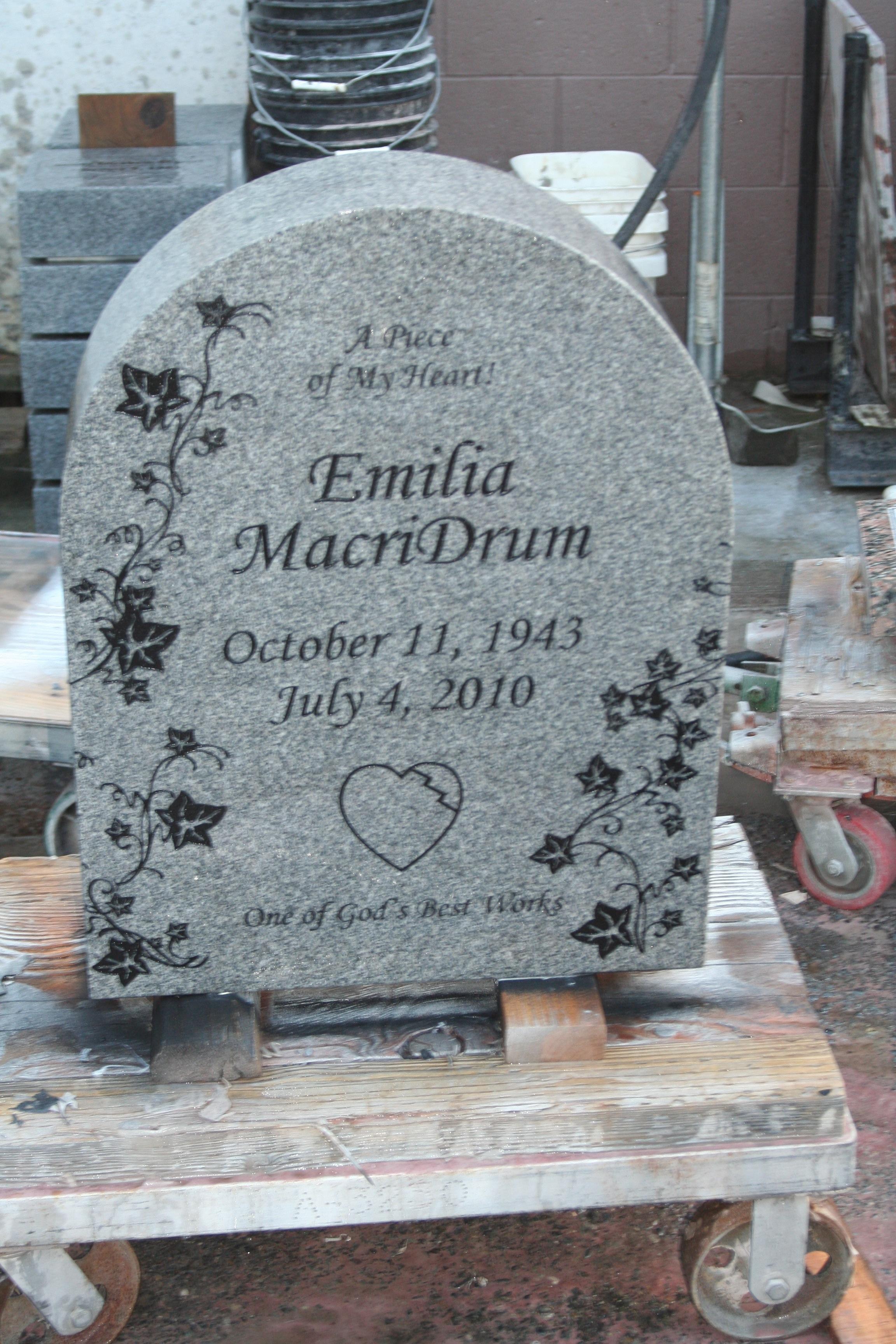 Native American Slant Headstone In Classic Gray Granite