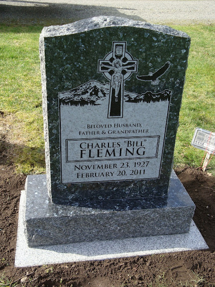Upright Grave Marker Headstone In Blue Pearl Granite