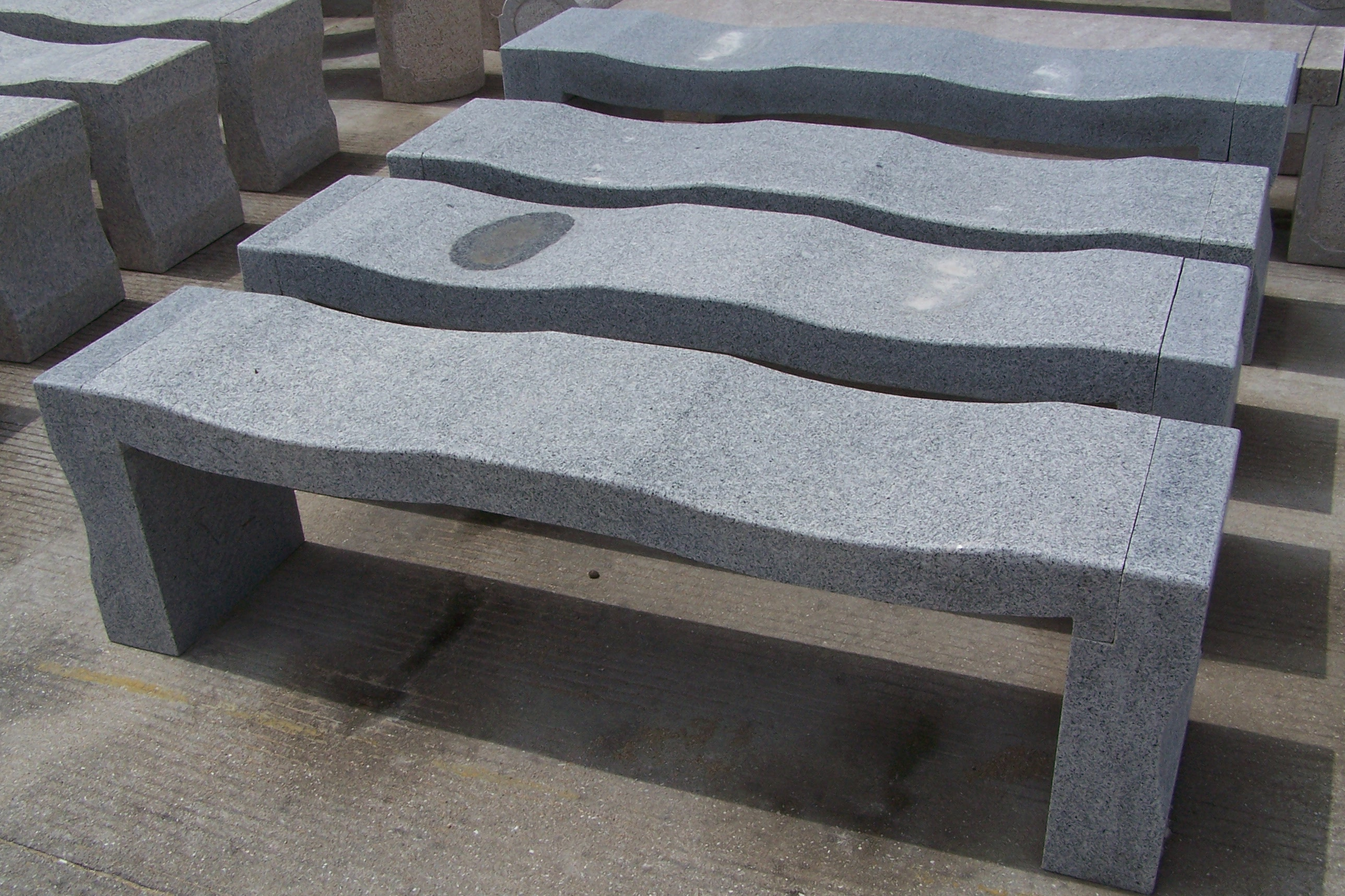 Classic Gray Custom Curved Granite Bench Pacific Coast
